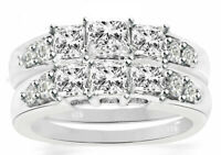 Real 925 Sterling Silver 14k gold plating Women's Weddings Diamonique CZ Rings