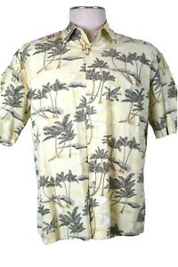 Pierre Cardin Men's Large, Hawaiian-style shirt, Yellow with palms ~ Flaw