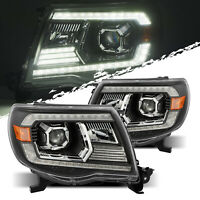 For 05-11 Toyota Tacoma Black Projector Headlights LH/RH Assembly Replacement