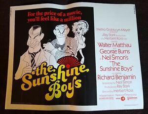 The Sunshine Boys 1975 Vintage Half-Sheet Poster George Burns Walter Matthau