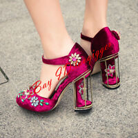Fashion Suede Rhinestones Womens Block High Heel Ankle Buckle Party Shoes Size