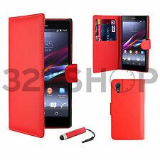FUNDA DE CUERO Tipo Cartera para Sony Xperia Z Z1 Z2 Z3 Protector Pantalla