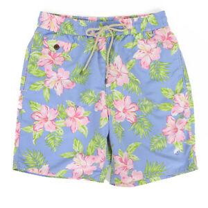Polo Ralph Lauren Floral Aloha Swimsuit Swim Shorts - light blue, pink, green