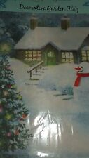 New Snowman Cottage Tree! Cozy Winter's Night Decorative Garden Flag Evergreen