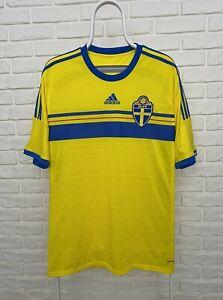 ADIDAS SWEDEN NATIONAL TEAM 2014 2015 WORLD CUP HOME FOOTBALL SHIRT JERSEY r. L