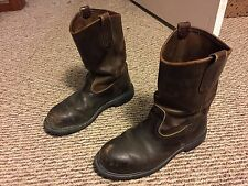 RED WING Pecos Safety Toe Work Boots  #2254 Size 9D MADE IN USA Distressed Worn