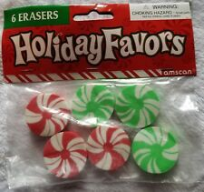 6 Pack of Peppermint candy shaped Erasers