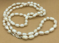 Vintage Sterling Necklace 925 Freshwater Knotted Pearl Strand Hook Clasp