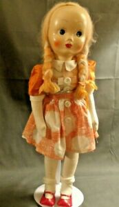 """VINTAGE 16"""" POLISH CLOTH DOLL, JOINTED LEGS, PLASTIC FACE"""