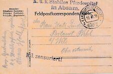 Nr 11423 Feldpost Karte K,u.K. Pferdespital in Absam Tirol Fpa 630/II