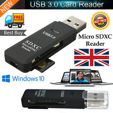 5Gbps Super Speed 2in1 USB 3.0 Memory Card Reader Flash Adapter Micro SD SDXC TF