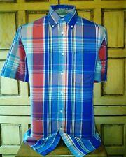 Men's Sun River Short Sleeve Blue Red Green Yellow Peach Plaid Shirt Size Medium