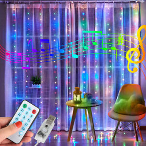 Music Sync USB Waterproof Twinkle w/Remoe Hanging LED Curtain Fairy String Light
