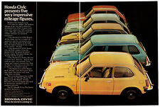 1975 HONDA Civic Vintage Original 2 page Print AD 5 car photo CVCC Hatchback USA