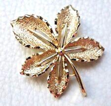 VINTAGE BROCHE feuille doré signé Sarah Coventry LEAF Brooch pins