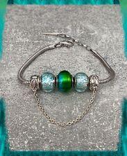 Bracelet CHARMS 3 Perles Verre Murano Bleu/ Vert AUTHENTIQUE&Argent 925 Rhodié