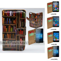 For Nokia Series - Bookshelf Theme Print Wallet Mobile Phone Case Cover