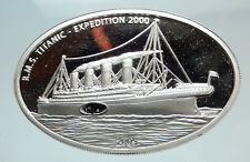 2005 LIBERIA Titanic Expedition REAL COAL from WRECKAGE Silver Proof Coin i74487