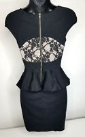 EXPRESS Size 2 Dress Black Peplum Bodycon w/Lace Back Accent Fitted EUC!