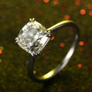 Cubic Zirconia Solid 10K White Gold Beauty Solitaire Bridal Wedding Fine Ring