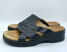 Clarks Black Strappy Leather Slides Slip On Shoes Sandals Mules 6 6M 88397