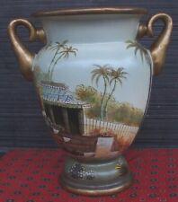 """Raymond Waites Green Gold 10.5"""" 2 Handled Vase Urn Landscape Toyo Trading Co."""