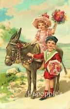 Vintage Fabric Block Girl and Boy with Donkey