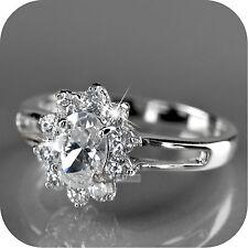 18k white gold gp made with swarovski crystal wedding bridal ring US 6 UK AU M