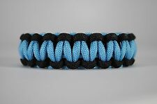 550 Paracord Survival Bracelet Cobra Black/Carolina Blue Camping Tactical