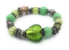 """Glass Bead Heart Bracelet Green Crystal Silver Plated Metal Charms Stretch 8"""""""