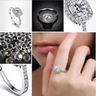Elegant Platinum Round Square Diamond Wedding Ring Fashion Jewelry Sets Women