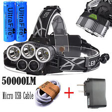 50000LM 5-Head CREE XM-L T6 LED 18650 Micro USB Headlamp Headlight Battery Sets