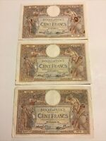 Lot Of 3 X France Banknotes. 100 Francs. Dated 1939. French Vintage Notes.