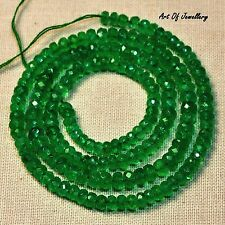 75 CT+ 3*5mm New Designer Natural Of Emerald faceted Rondelles Beads 17.5 Inches