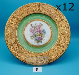 12 Hutschenreuther Selb Bavaria GOLD Plate/Charger~GREEN Band~Flowers 10 7/8""