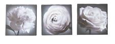 Set of 3 Black & White Grey Rose Flower Wall Art Bedroom Canvas Frame Room Decor