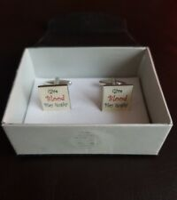 Mens novelty cufflinks Give Blood Play Rugby