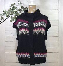 Free People Fair Isle Snap Lambswool Mohair Sweater Vest Womens Size Medium