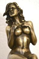 Handgefertigte Bronzefigur-Bronze Akt auf Marmorsockel signiert Raymondo