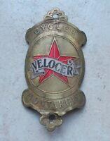 Vintage bicycle head badge VELOCER France antique french bike old