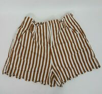 Aaron & Amber Womens Large Mustard Yellow & White Striped Shorts Scalloped Edge