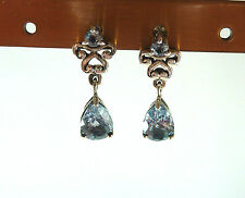 2.92ct Genuine Sky Blue Topaz 925 Sterling Silver Victorian Style Post Earrings
