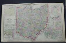 Ohio Map, Antique, 1898 O.W. Gray P1#87