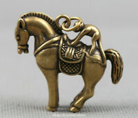 "1.8"" Curio Chinese Bronze Zodiac Monkey Ride Horse Small Statue Pendant 31g 马上猴"