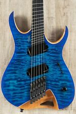 Mayones Hydra Elite VF 6 Multi-Scale Headless Guitar, Blue Satin, Quilt Maple