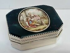 antique solid silver & bloodstone table snuff box w miniature porcelain painting