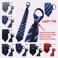 Zipper Men's Necktie Casual Business Wedding Slim Zip Up Neck Tie Solid