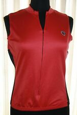 Pearl Izumi Sz M Cycling Jersey Red Black 1/2 Zip Sleeveless Bike Bicycle Womens