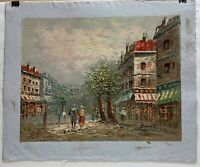 "Original Oil On Canvas Impressionist City Scape Unframed - 19 3/8"" x 16 1/4"""