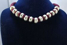 Vintage sterling silver 925 Round bead necklace ,wax inside beads,Red thread
